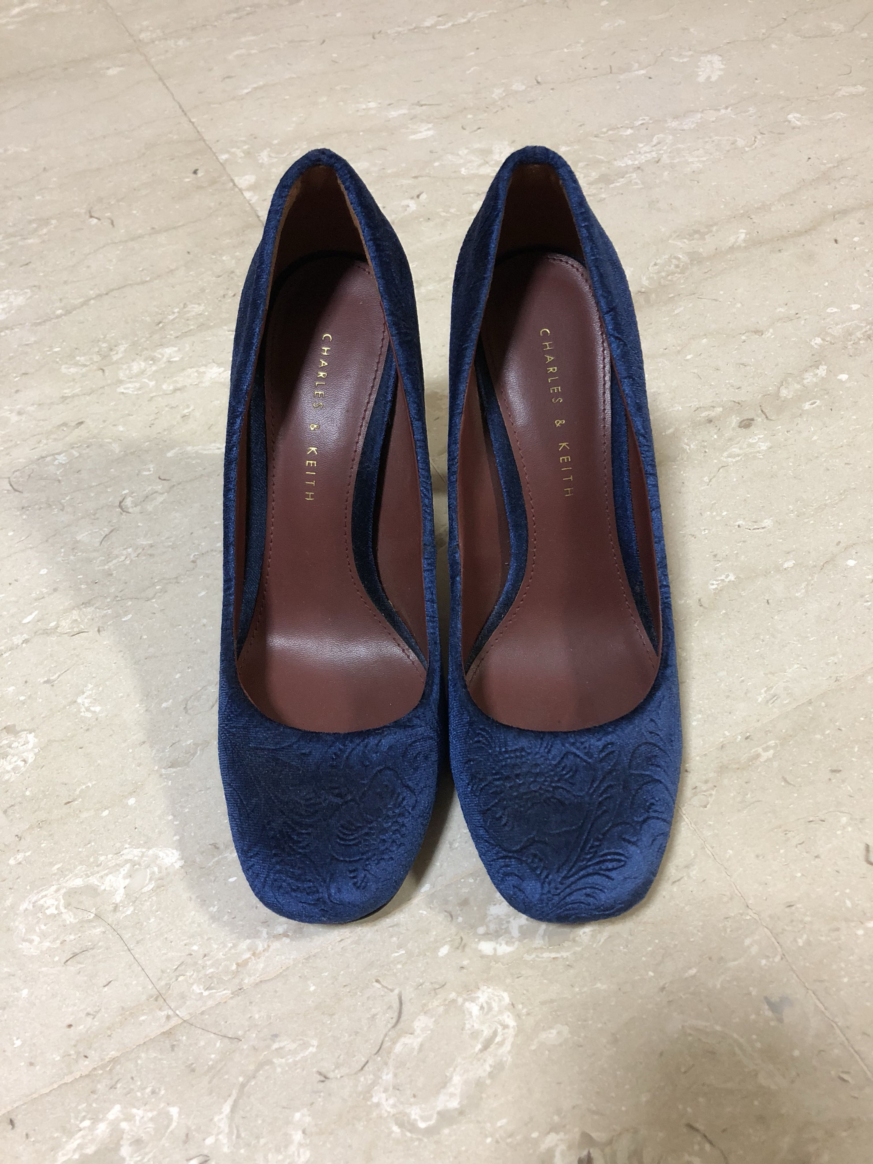 4192a6d24429b Charles & Keith Blue Patterned Velvet Heels, Women's Fashion, Shoes ...