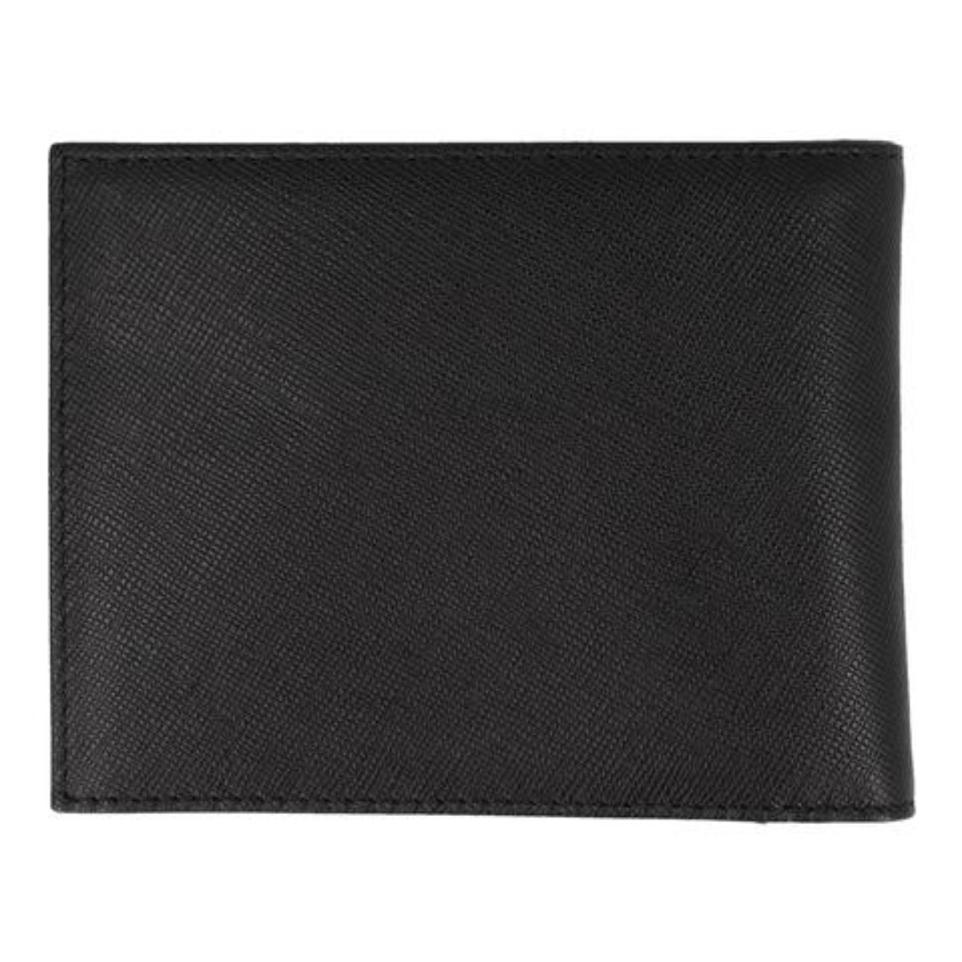 0dca12967445 CROSSING SAFFIANO BI-FOLD WALLET WITH FLAP & COIN POUCH – BLACK ...