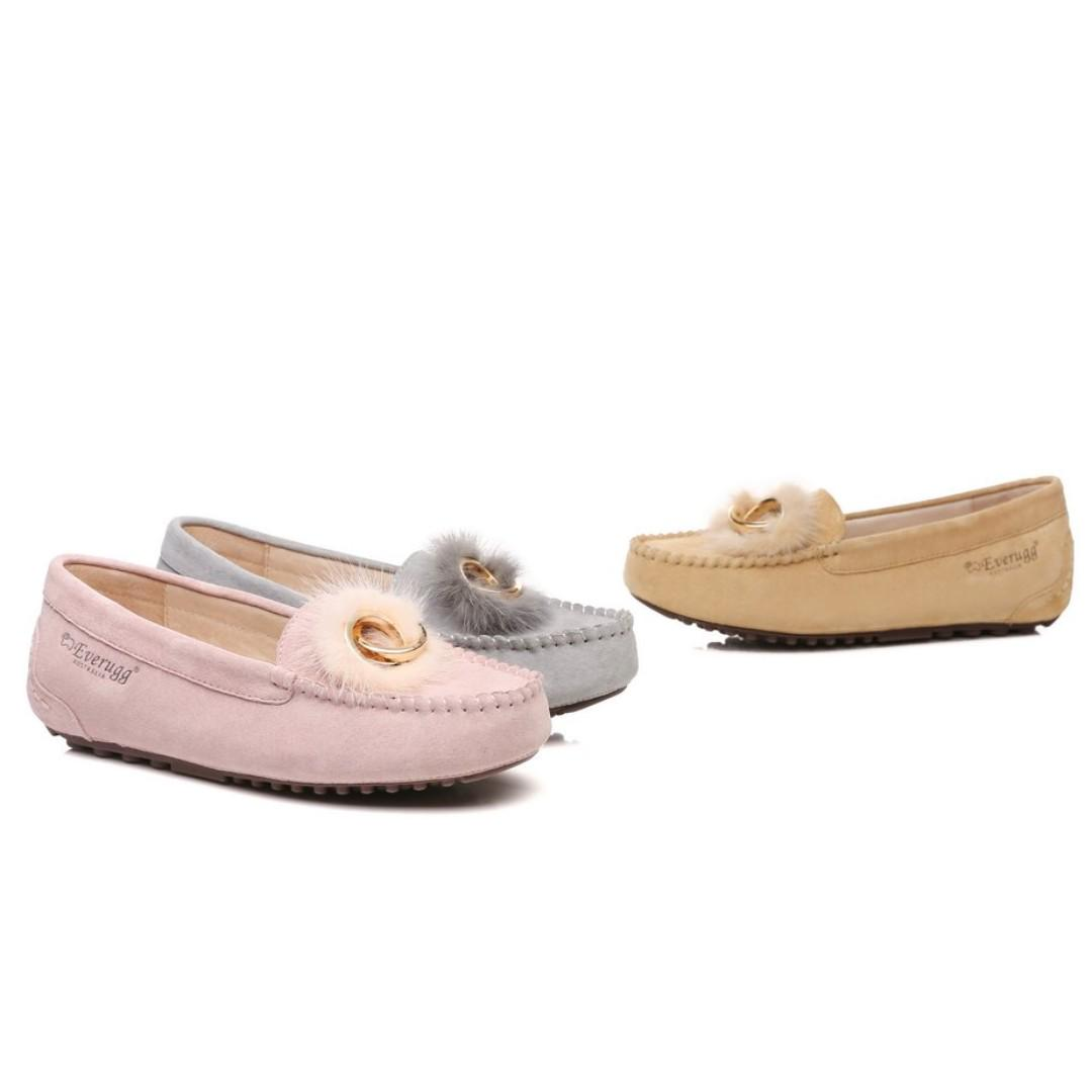 Everugg*milly Moccasin Suede Upper, Marten Hair, Rubber Sole Ladies Flat Shoes