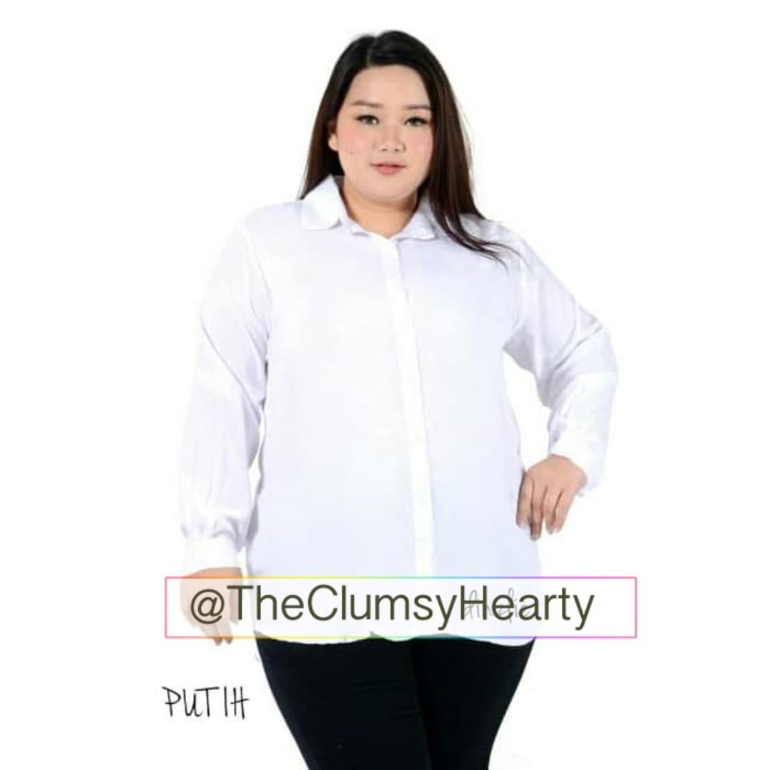 Kemeja Putih Jumbo Kemeja Kerja Wanita Putih Kemeja Hijab Kemeja Lengan Panjang Bigsize Jumbo L XL XXL XXXL, Women's Fashion, Women's Clothes, ...