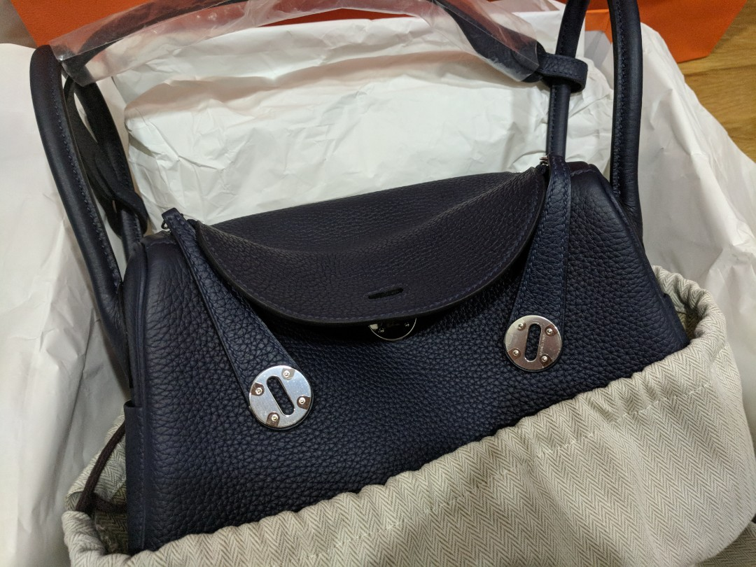 8772a7142c60 Last Price!! BNIB Authentic Hermes Lindy 26 in Blue Nuit Clemence ...
