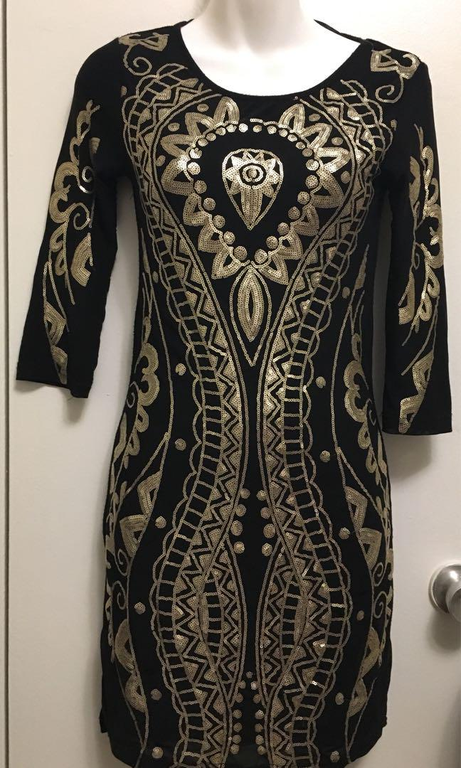 Le Chateau Gold Sequin Dress - Size XS, XXS