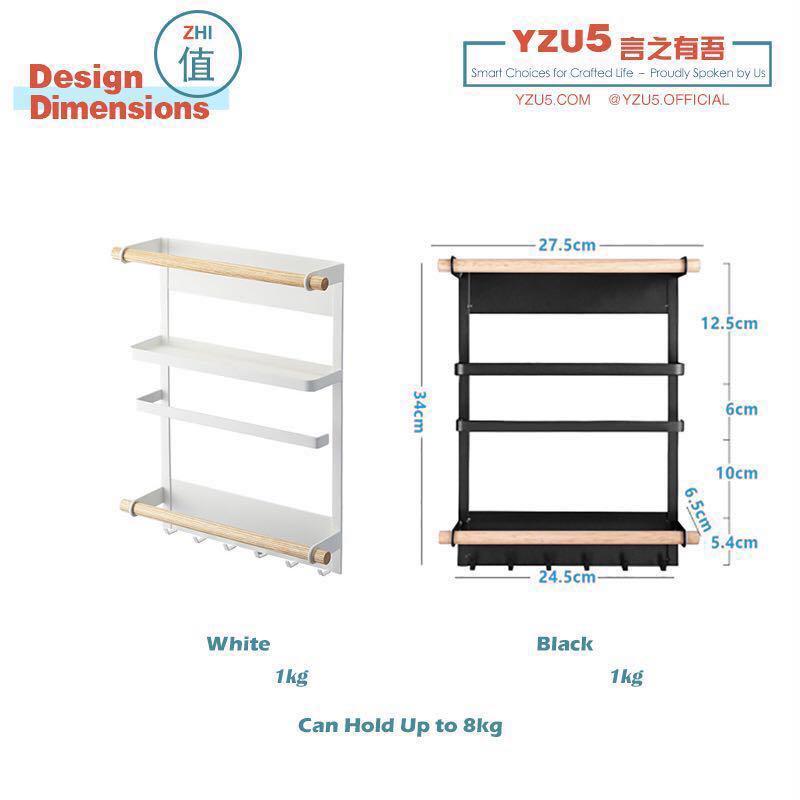 Magnetic Kitchen Fridge Storage Rack Refrigerator Shelf