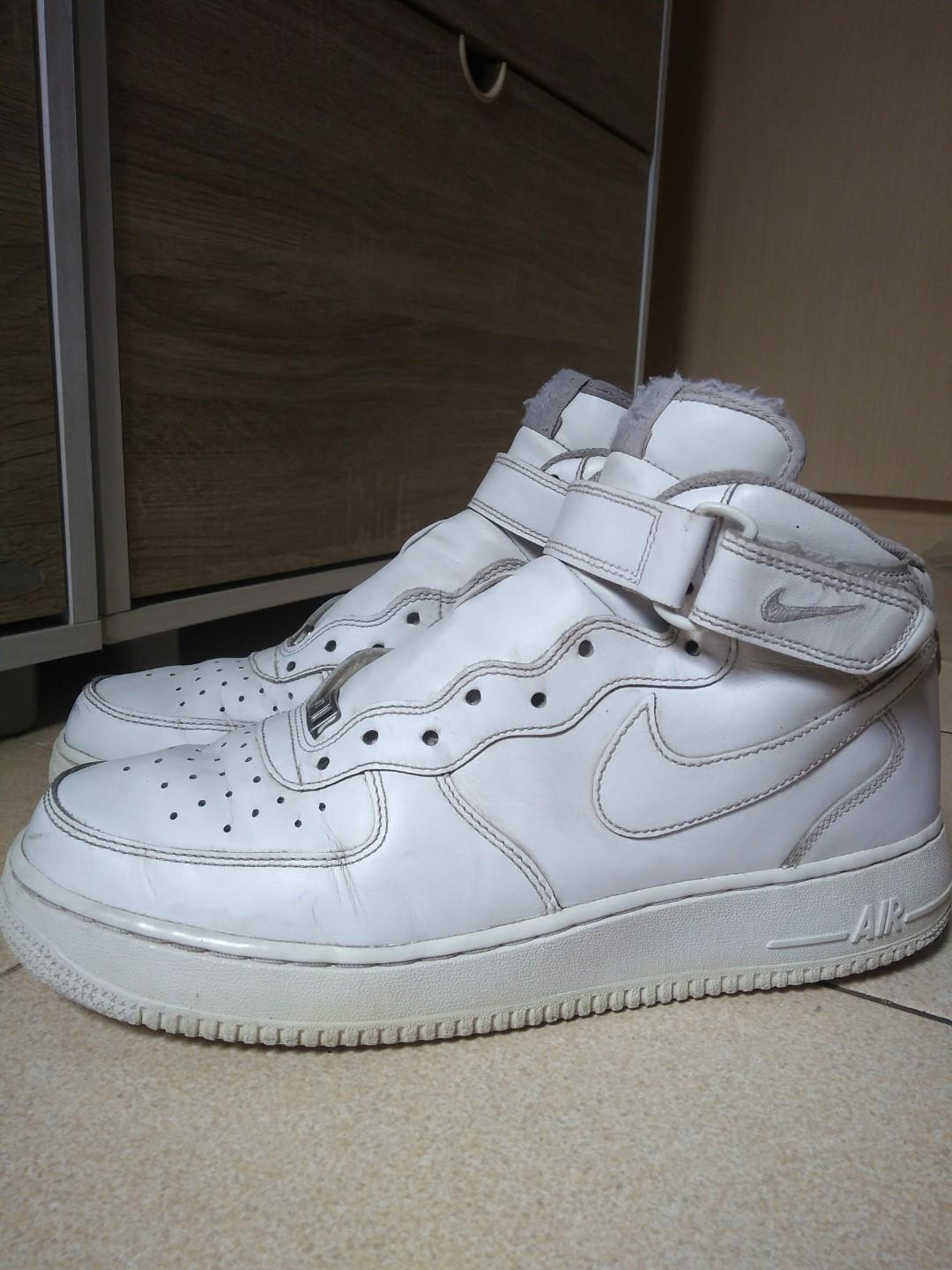 check out official store free shipping Nike Air Force One Mid (White) 44, Men's Fashion, Men's ...