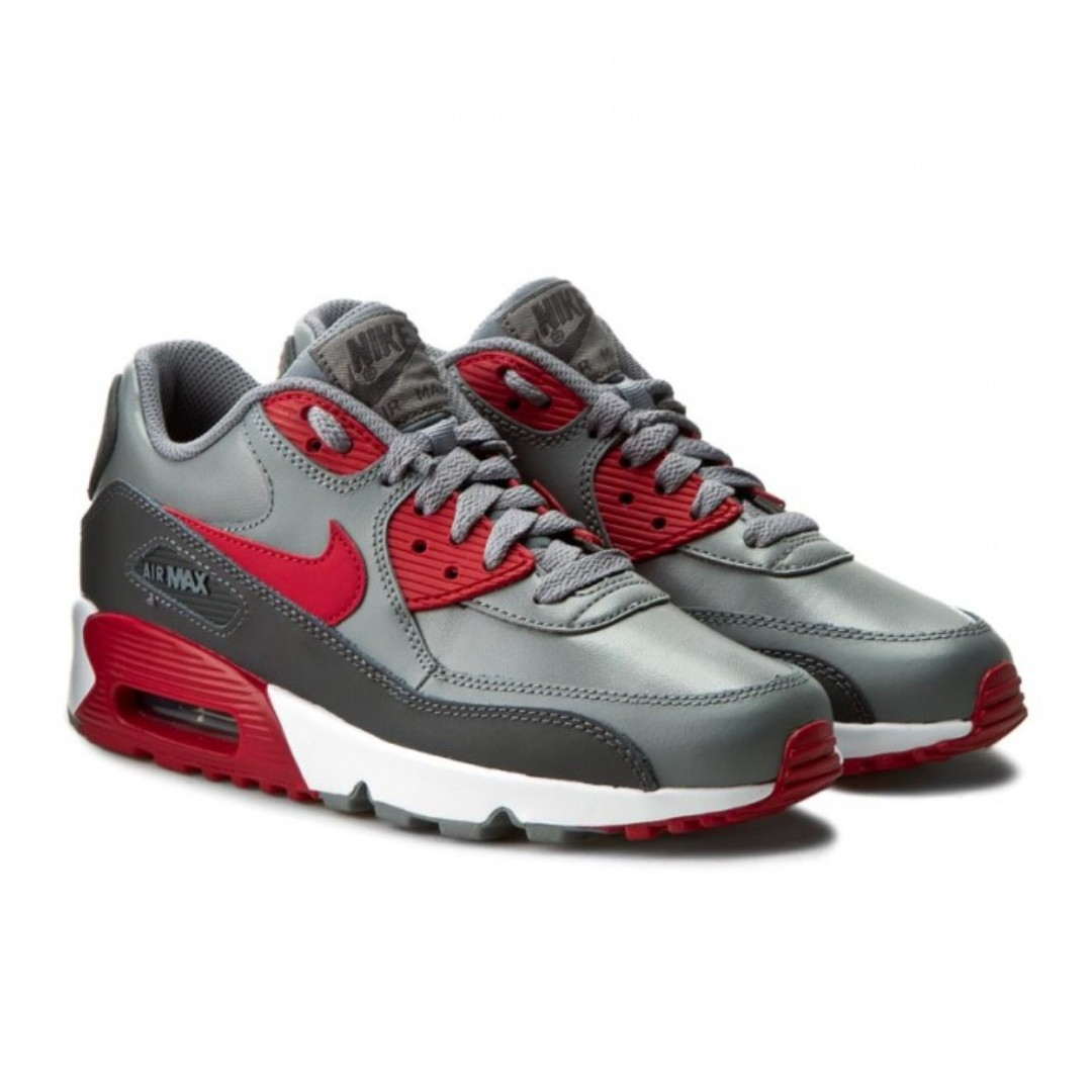 meet 2d516 40370 Nike Air Max 90 Gym Red Leather Cool Grey Kids GS UK5.5 EU38.5 ...