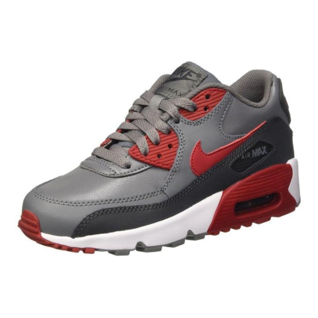 66efec95d9 Nike Air Max 90 Gym Red Leather Cool Grey Kids GS UK5.5 EU38.5, Women's  Fashion, Shoes, Sneakers on Carousell