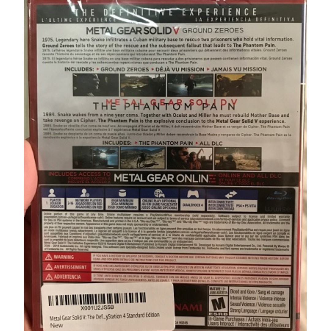 PlayStation 4 PS4 Brand New Metal Gear Solid V: Definitive Edition (R1)