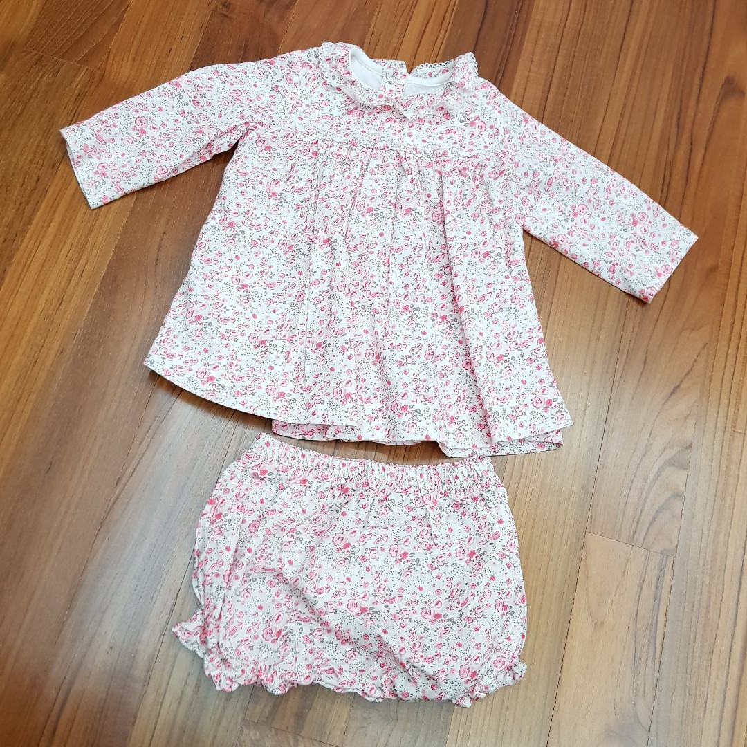 161cd05c1 Preloved Petit Bateau Baby Girl Clothes / Dress (Top & Bottom) - 6 ...