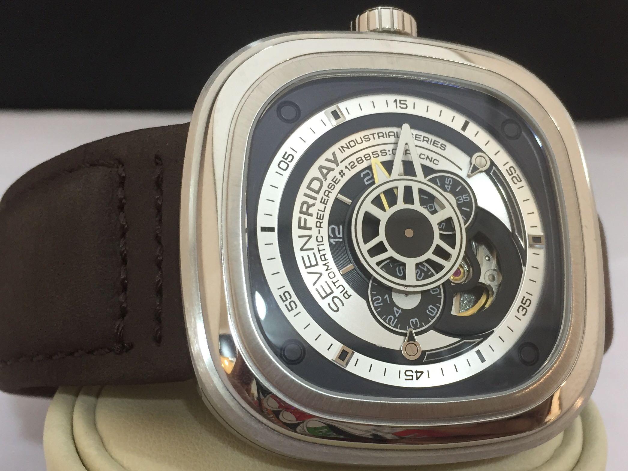 Preowned Sevenfriday Industrial Essence Silver And Black Dial P1b Automatic Mens Watch 1 Barangan Mewah Jam Tangan Di Carousell