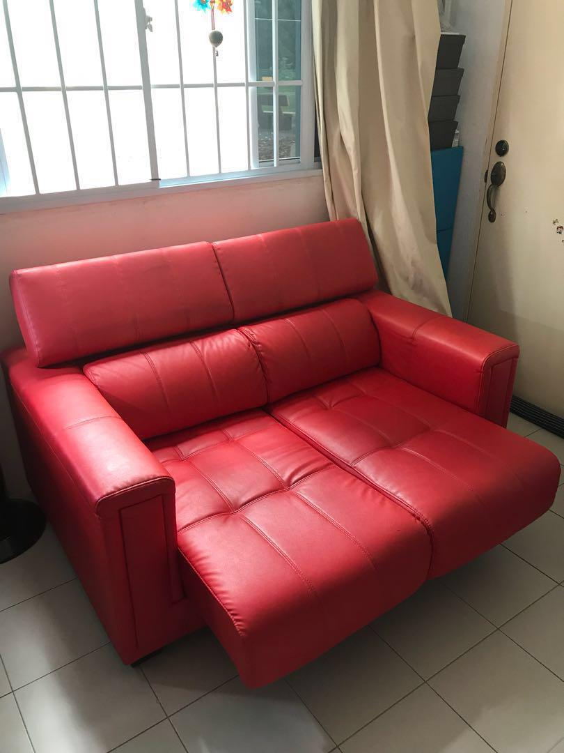 Red Sofa Bed ***SALE***, Furniture, Sofas on Carousell