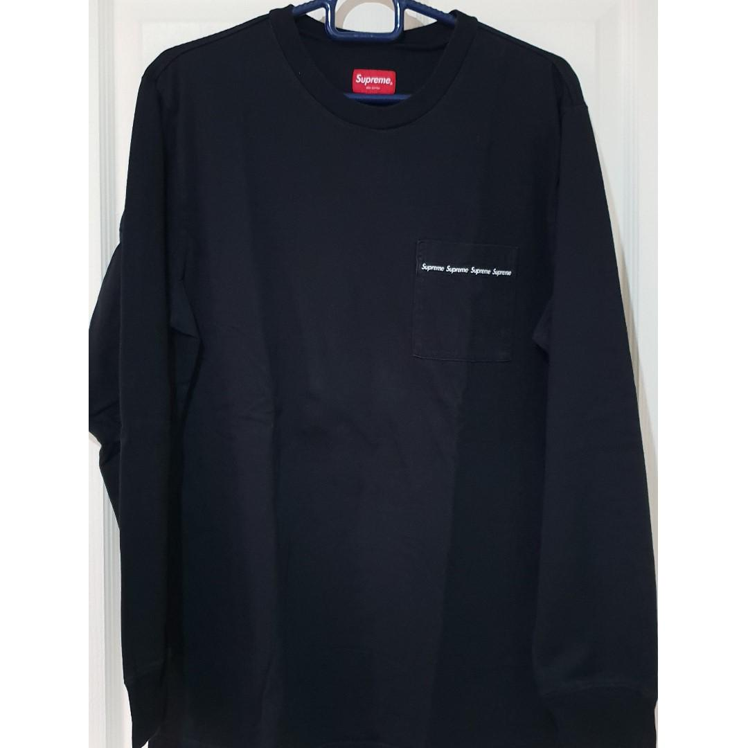 Supreme Woven Tape L/S Pocket Tee in Black L. Used, good