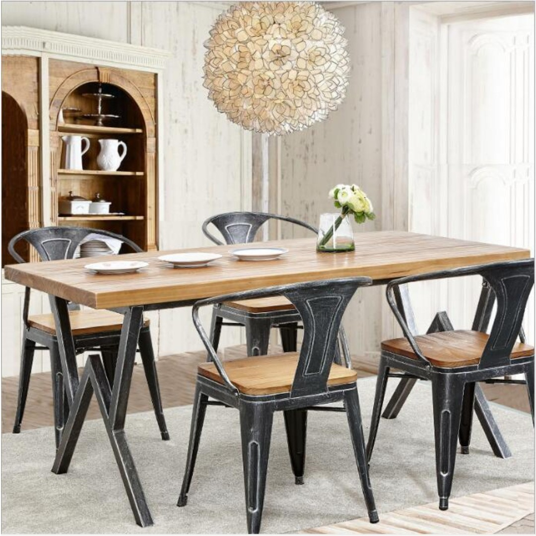 TSDTI Industrial Solid Wood Dining Table Dining Chair Furniture - Wodden dining table