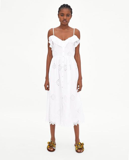 1847ae95399 Zara crochet button down strappy midi dress