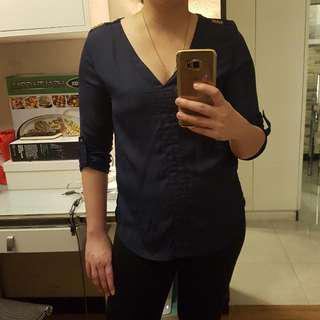 Vneck Navy Blue Top