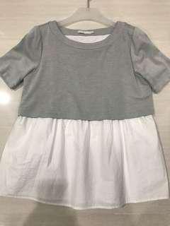 Padini white grey loose top
