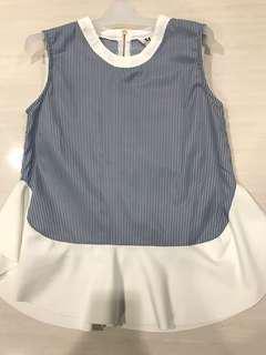 Sleeveless blue stripe top