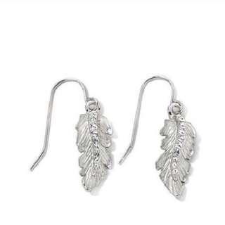 Roberto by RFM Cortona Crystal Drop Leaf Earrings - Silver Tone