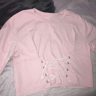 Pink Corset Tie Shirt