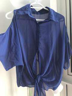 Blue cold shoulder top