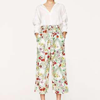 Zara Ecru Floral Print Culottes W/ Belt