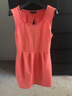Selling coral coloured dress size small open back