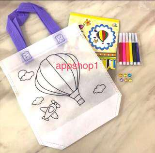 Hot air balloon DIY coloring hand carry bag- preschool party goodies bag, children's day celebration goodie favors