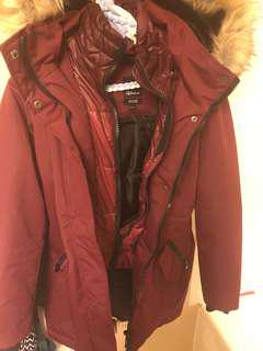Burgundy fur lined hooded winter coat