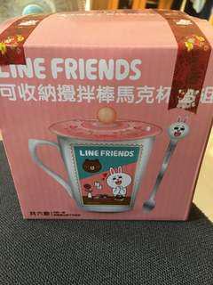 🚚 Line Friends 可收納攪拌棒馬克杯蓋組