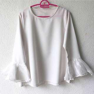White Organza Sleeves Blouse