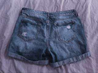 Ripped Boyfriend Jean Shorts