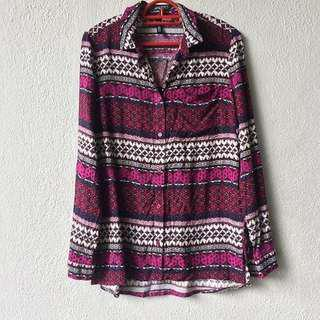 H&M Divided Patterned Shirt Blouse Top