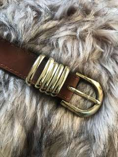 Glassons Tan Belt with Gold Buckle