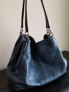 COACH Phoebe Pebbled Leather in Metallic Blue