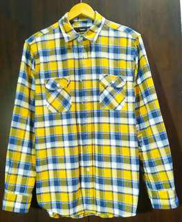 Authentic Bossini flannel mens checkered plaid polo