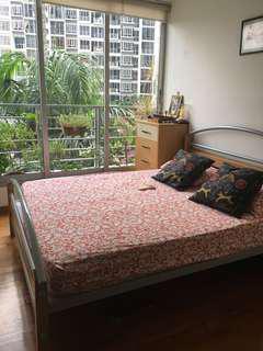 Queen bedframe with mattress