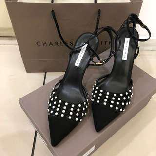 Charles & Keith Black Suede Heels *LIKE NEW*