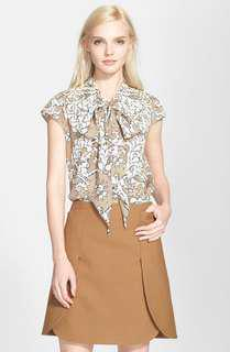 Tory Burch Silk Tie Neck Blouse Size US4