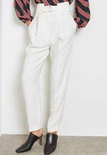 Mango White High Waist Belted Pants Size 34