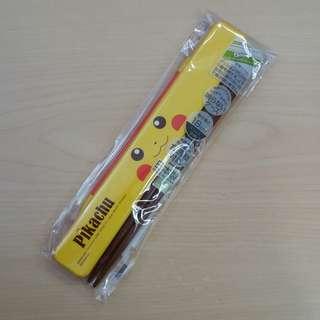 日本直送 比卡超筷子連盒 餐具 pikachu chopsticks pocket monsters