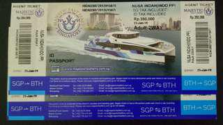 Majestic Fast Ferry Physical Ticket