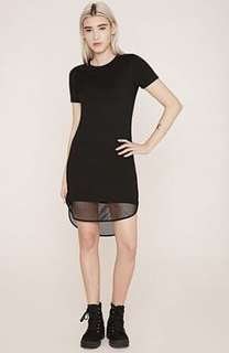 Black mesh tshirt dress