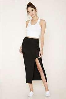 Black slide slit midi skirt