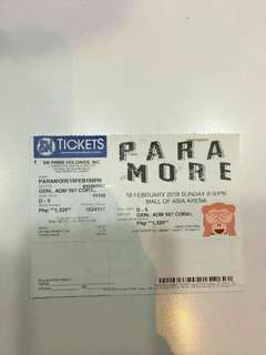 REPRICED!!! PARAMORE TOUR FOUR GEN AD TICKET