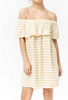 Striped yellow off the shoulder dress