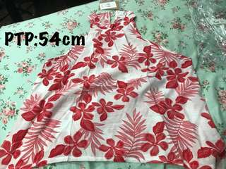 Lediva red flower halter top