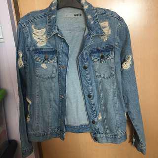Topshop Denim Jacket washed ripped distressed pattern 牛仔 圖案 外套 洗水 褸 破爛