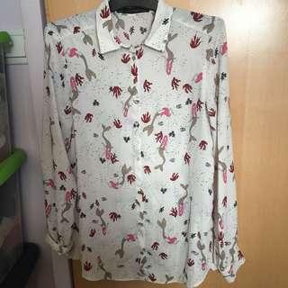 Zara chiffon mermaid pattern shirt top 雪紡 襯衫 恤衫 上衣