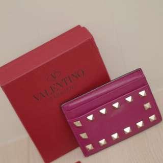 降‼️Valentino 卯釘 桃紅色 名片夾  悠遊卡夾 信用卡夾 短夾(小包 woc 可使用)