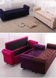 Preorder storage sofa bench , Bed tail stool