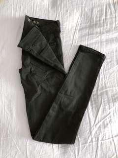(Size 00) AEO Satin Olive Green Super Stretch Jeggings
